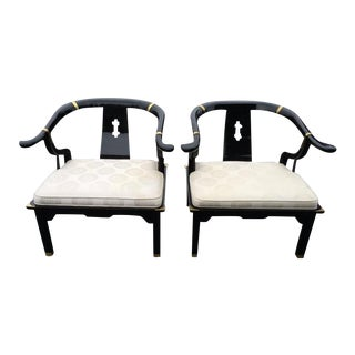 Century Asian Lacquered & Brass Chairs - A Pair For Sale