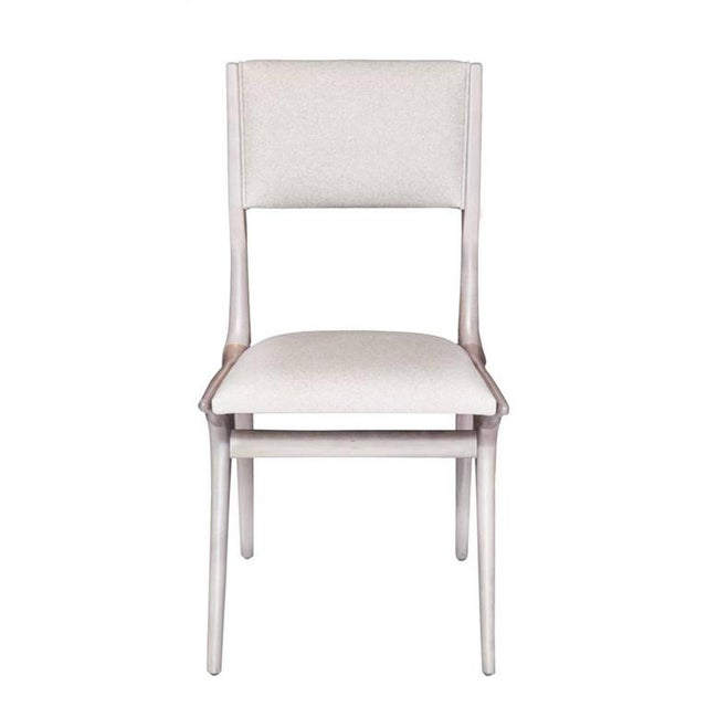 """Maple dining chair in grey bleached finish. Seat height 18.5"""" seat depth 16"""" COM requirements: 1.5 yards 5% up-charge for..."""