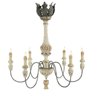 Elegant Pair of Six-Arm Chandeliers, Carved Wood With Painted and Gilt Finish Priced Per Chandelier. For Sale