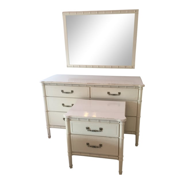 Henry Link White Faux Bamboo Dresser With Mirror and Side Table / Night Stand - 3 Pc. Set For Sale