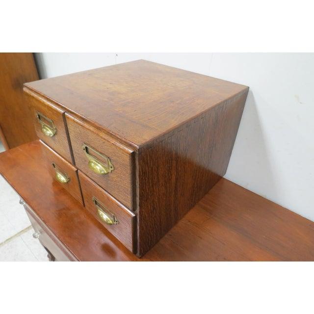 Wood English Tiger Oak 4 Drawer Tabletop Card File For Sale - Image 4 of 10