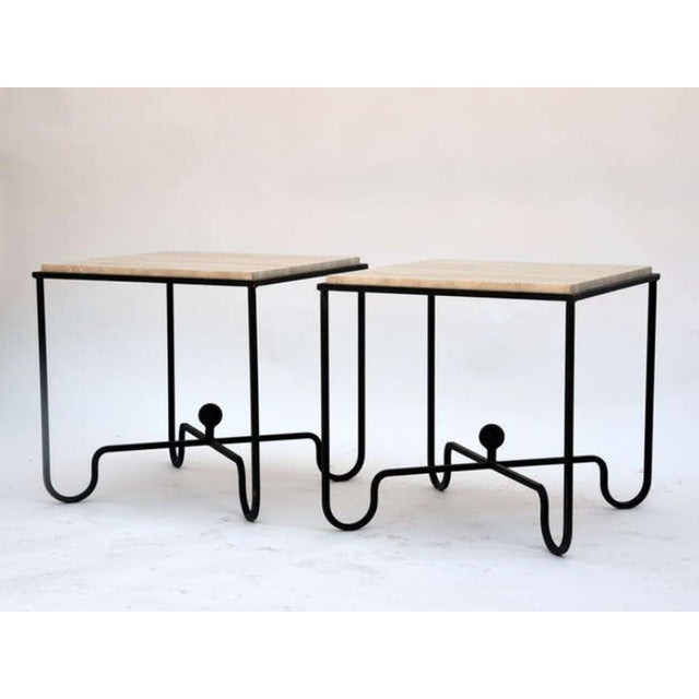 "Modern Contemporary ""Entretoise"" Wrought Iron and Travertine Tables - a Pair For Sale - Image 3 of 8"