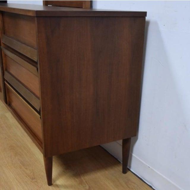 Bassett Mid-Century Walnut Dresser & Mirror For Sale In Boston - Image 6 of 11
