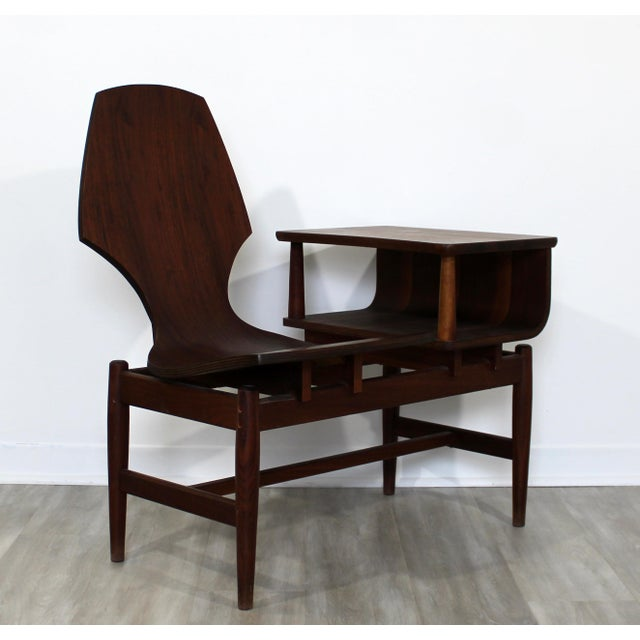 Mid Century Modern Plycraft Bentwood Telephone Gossip Table & Side Chair For Sale - Image 9 of 11