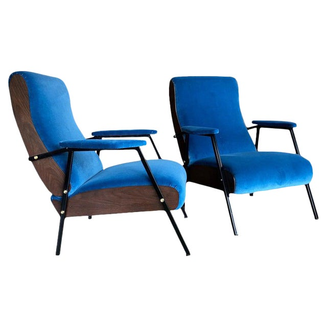 Lounge Armchairs in Wood and Blue Suede, Italy 1950s - a Pair For Sale