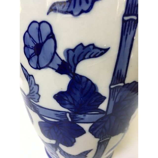 1990s 1990s Vintage Vienna Wood's Fine China Bamboo and Morning Glory Vase For Sale - Image 5 of 8