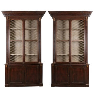 19th Century English Regency Library Bookcases-A Pair For Sale