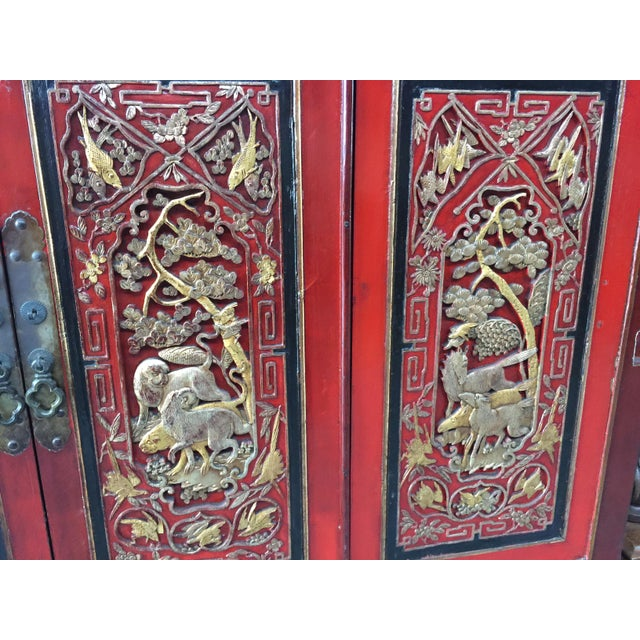 Antique Carved Asian Cabinet For Sale - Image 4 of 13
