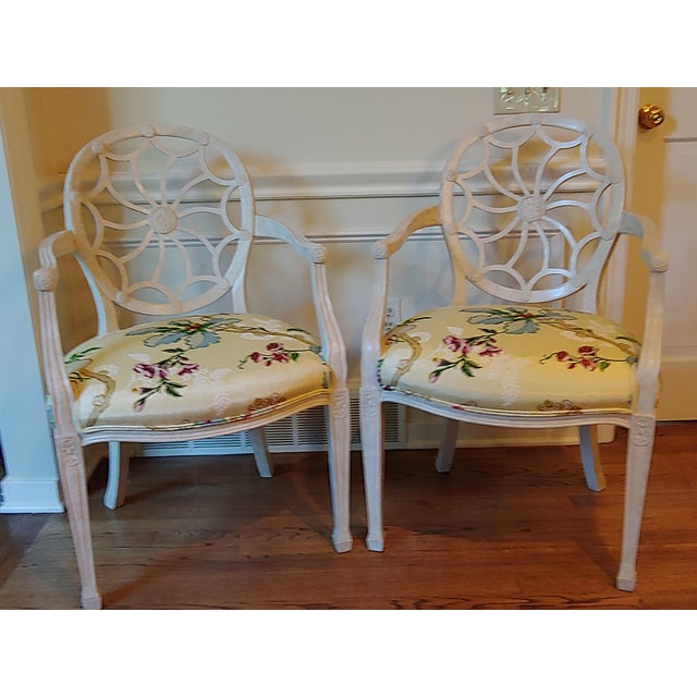 White Custom Wheel Back Chairs - a Pair For Sale - Image 8 of 8