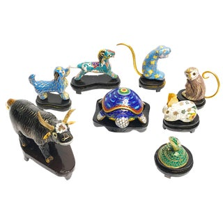 1970's Vintage Hand Crafted Cloisonné Mini Animal Figurines- Set of 8 For Sale