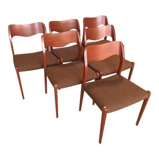 1960s Vintage JL Moller Boomerang Chairs - Set of 6 For Sale