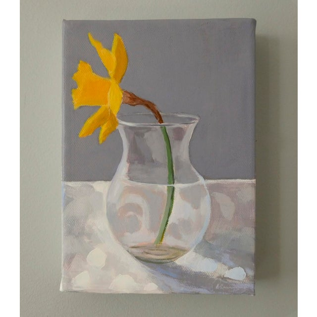 A single daffodil in a small vase symbolizing rebirth and new beginnings. I like the optimism of yellow. Painted with...