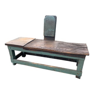 Industrial Distressed & Painted Wood Work Bench For Sale