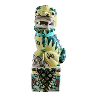 Antique Early 20th Century Chinese Export Famille Vert Porcelain Foo Dog For Sale