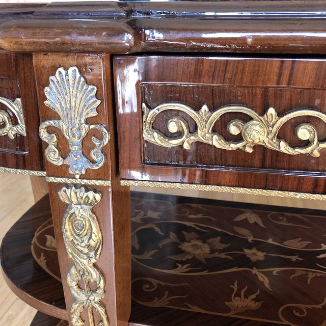 Wooden Inlay Marquetry Petite Console Table With Brass Feet** For Sale In Atlanta - Image 6 of 13