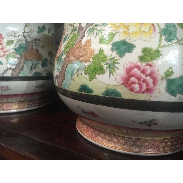 Pair of Chinese Famille Rose Cachepots For Sale In Austin - Image 6 of 8