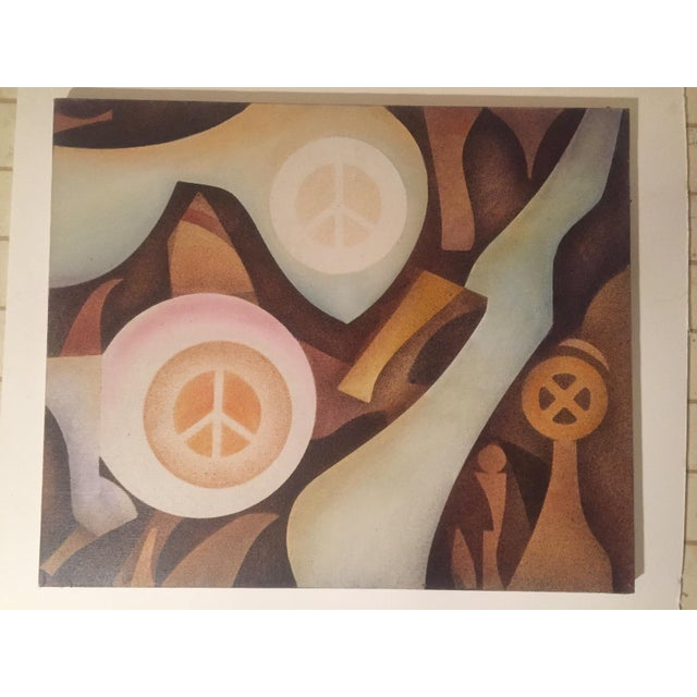 Vintage Abstract 'Peace' Painting - Image 2 of 6