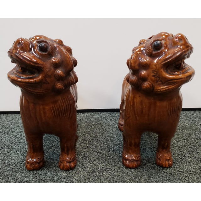 """Up for sale is a Pair of Circa 1900 Japanese Brown Glazed Clay Shisa Dog Statues! They each measure approximately 7"""" tall,..."""
