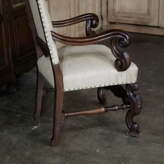 19th Century French Walnut Louis XIV Armchair For Sale - Image 12 of 13