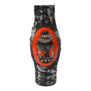 Mid Century Italian Modern San Marino Fat Lava Ceramic and Enamel Candle Holder For Sale
