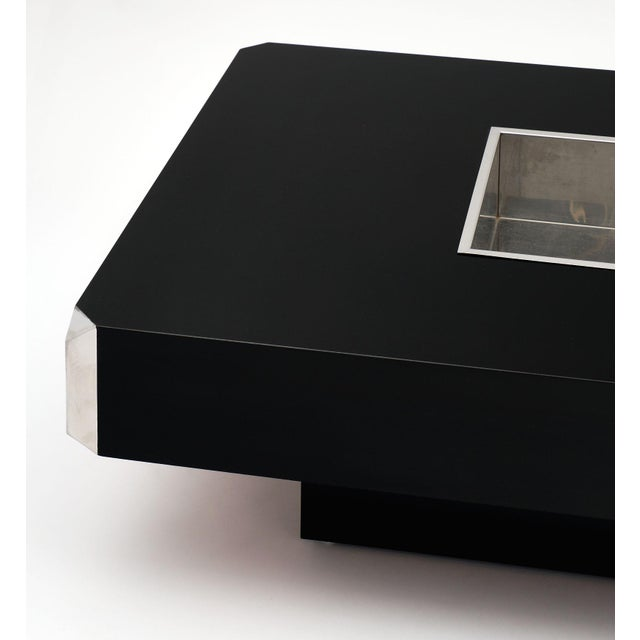 Italian Italian Vintage Ebonized Coffee Table With Chrome by Willy Rizzo For Sale - Image 3 of 10