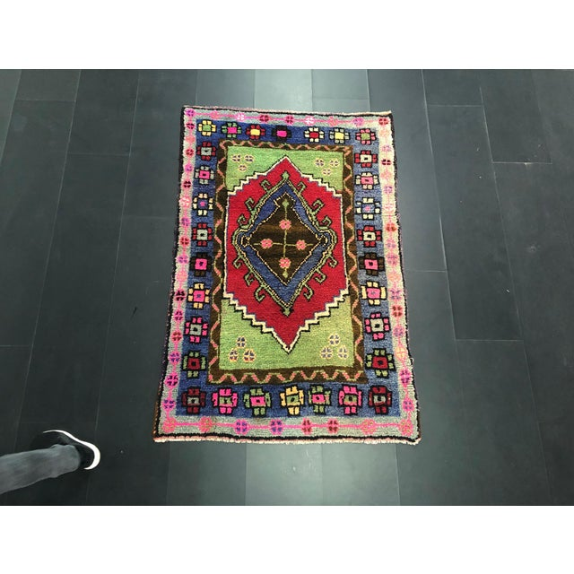 Traditional Anatolian Aztec Antique Blue Green Pink and Red Turkish Oushak Rug For Sale - Image 12 of 12