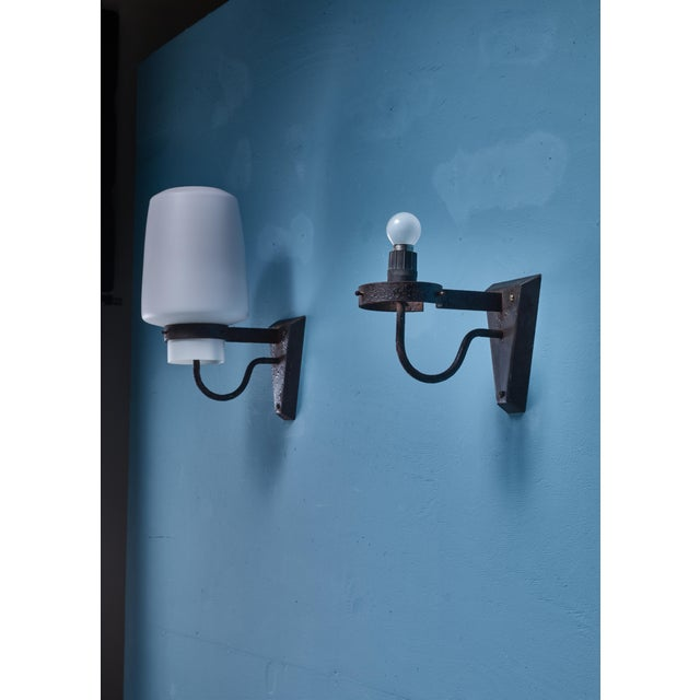 Mid-Century Modern Georges Candilis Pair of Metal and Glass Sconces, France, 1960s For Sale - Image 3 of 4