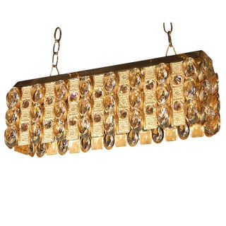 1950s Lobmeyr Crystal and Gold Pendant Lighting For Sale