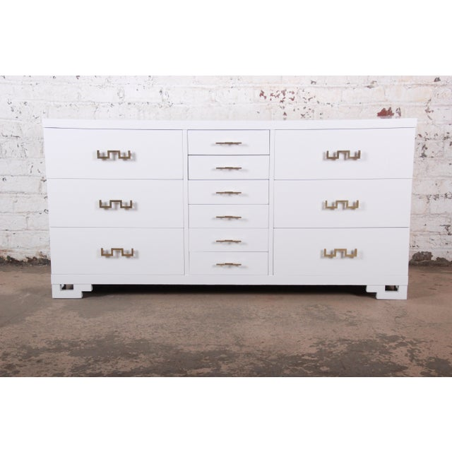 An exceptional mid-century Hollywood Regency Chinoiserie twelve-drawer dresser or credenza By J.B. Van Sciver Furniture...