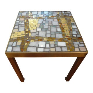 1960's French Hollywood Regency Brass Table With Glass Mosaic Top For Sale