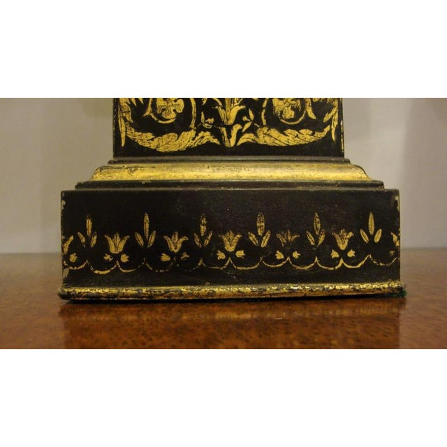 Metal Antique Ebonized & Gilt Tole Decorated Empire Lamps - A Pair For Sale - Image 7 of 8