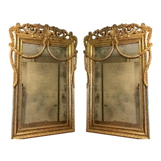 Pair of Nancy Corzine Louis XV Gilt-Wood Mirrors W Antiqued Glass For Sale