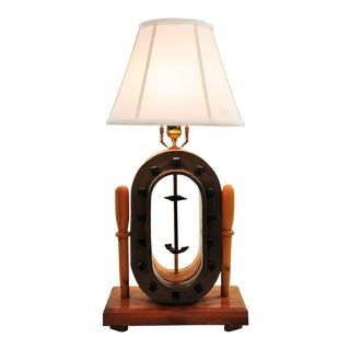 Transitional Birchwood & Bronze Table Lamp For Sale