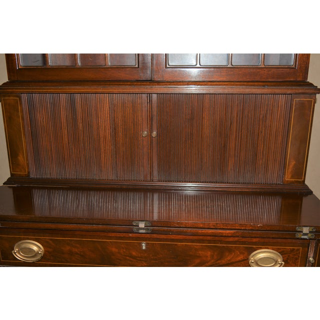 Brown Antique Federal Style Mahogany Secretary For Sale - Image 8 of 12