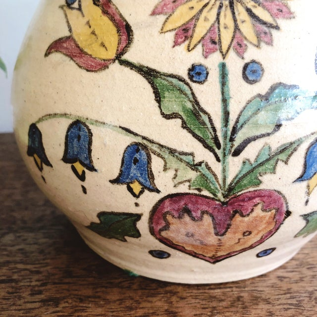 1950s Vintage Scandinavian Hand-Painted and Hand-Thrown Ceramic Vase For Sale - Image 5 of 9