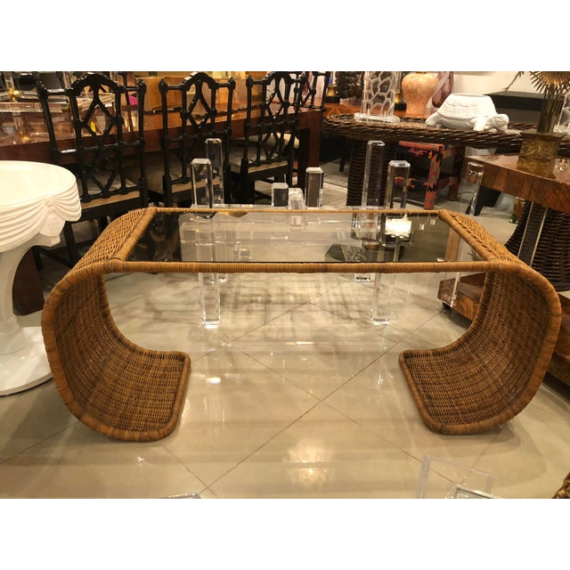 Vintage Scroll Natural Wicker Console Table For Sale - Image 13 of 13