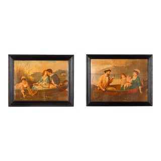 Pair of French Napoleon III Frames With Boating Scenes, Late 1800s For Sale