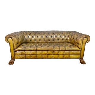 English Leather Tufted Chesterfield Sofa, Circa 1900s For Sale