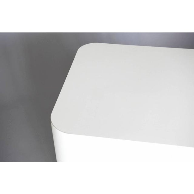 Wood Custom Made White Laminate Cubic End Table or Pedestal, Large For Sale - Image 7 of 8