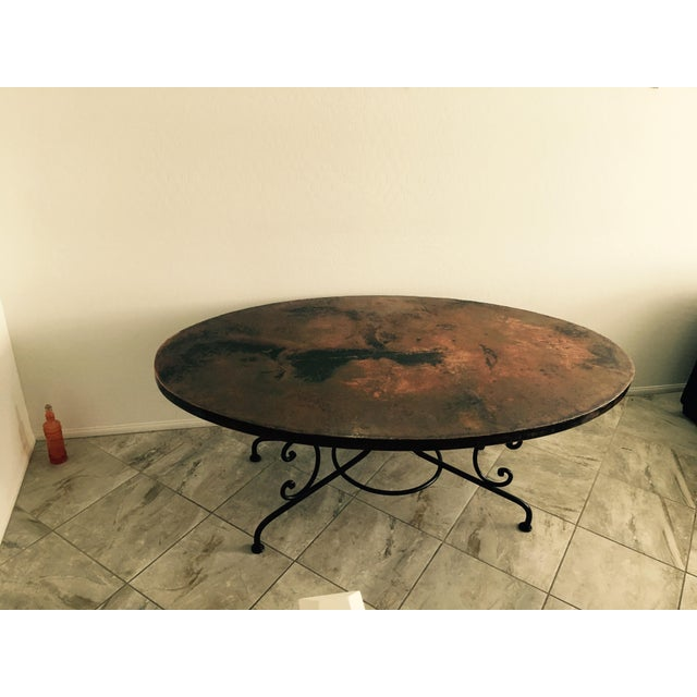 Arhaus Hammered Copper Oval Dining Table - Image 2 of 6