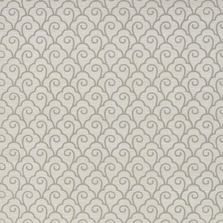 Sample - Schumacher Scallop Filigree Sisal Wallpaper in Fog For Sale