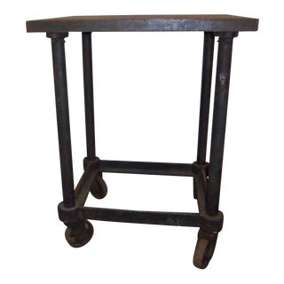 Industrial Iron Base Table on Wheels