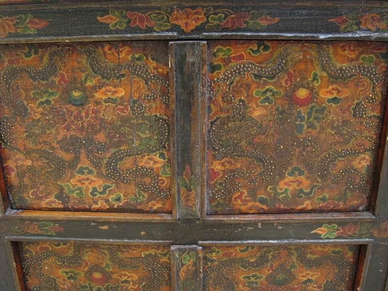 Vintage Chinese Pine Tibetan Cabinet   Image 4 Of 7