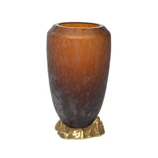 Rare Italian Modern Dark Amber and Gilt Decorated Vase, Seguso For Sale