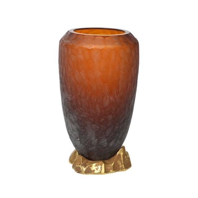 Rare Italian Modern Dark Amber and Gilt Decorated Vase, Seguso For Sale