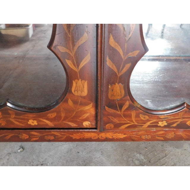 19th C. Dutch Marquetry Inlaid Display Cabinet C. 1840 W/ Glass Shelves For Sale - Image 10 of 12
