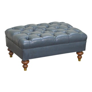 Blue Tufted Leather Chesterfield Style Ottoman
