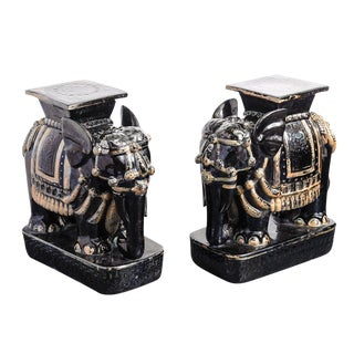 Italian Elephant Asian Garden Stools Glazed Terra Cotta - a Pair For Sale