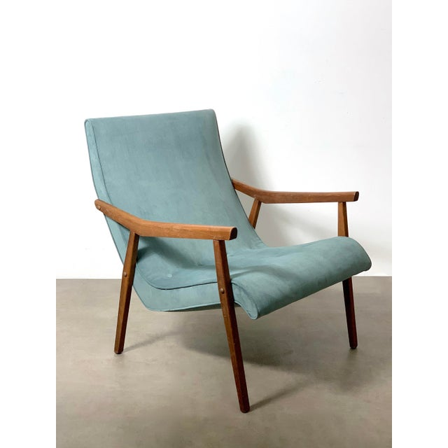 Hollywood Regency Milo Baughman for Thayer Coggin Walnut Lounge Chair, 1950's For Sale - Image 3 of 9