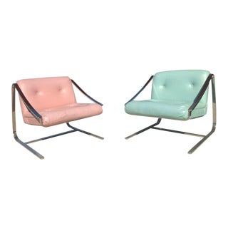 1970's Vintage Grasshopper Chrome Steal Lounge Chairs- A Pair For Sale
